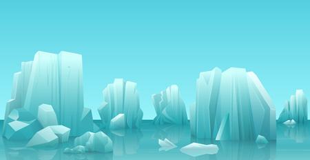 Cartoon nature winter arctic ice landscape with iceberg, snow mountains rocks hills. Vector game style illustration. Stock Illustratie