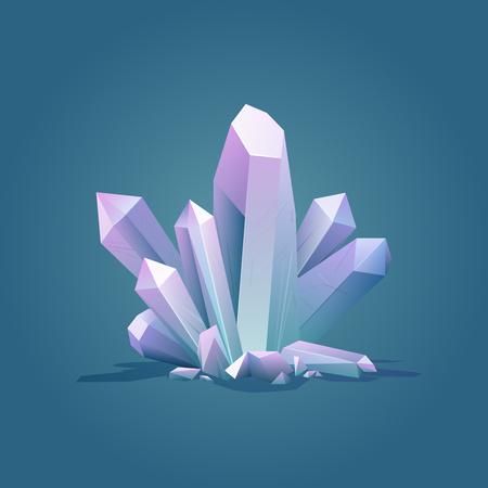 Quartz geometric crystal. Luxury color ice Crystal vector illustration. Healing stone. Gem stone vector illustration.