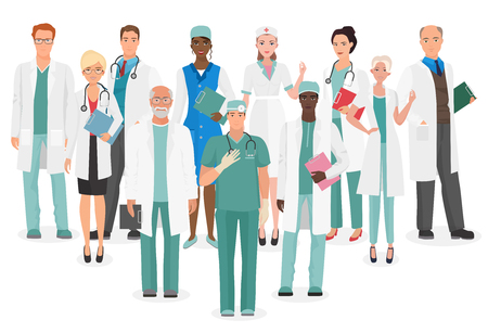 Hospital medical staff Team doctors together collection. Group of doctors and nurses people character set.  イラスト・ベクター素材