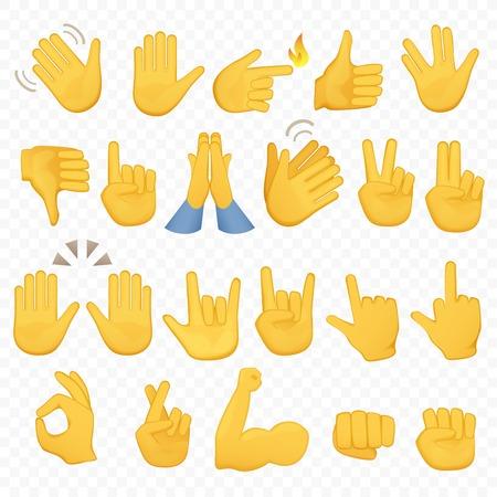 Set di icone e simboli di mani. Icone di mano Emoji. Gesti diversi, mani, segnali e segni, illustrazione vettoriale sfondo alpha. Vettoriali