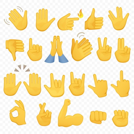 Set of hands icons and symbols. Emoji hand icons. Different gestures, hands, signals and signs, alpha background vector illustration.