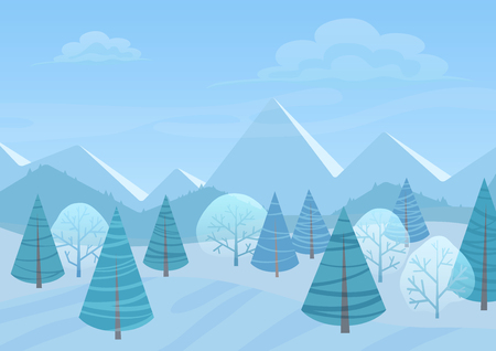 Beautiful Chrismas winter flat landscape background. Christmas forest woods with mountains. New Year winter vector landscape.