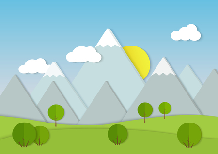 Mountains cardboard paper landscape. Green trees on field Vector illustration