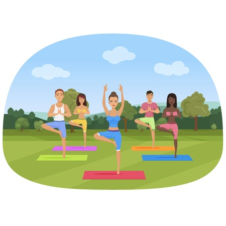 A group of people standing in the yoga position in the park vector illustration.