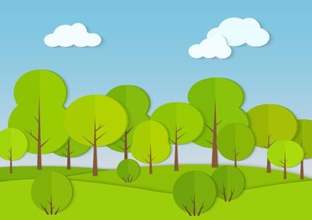 Forest woods cardboard paper landscape. Park green tree with bush Vector illustration. Illustration