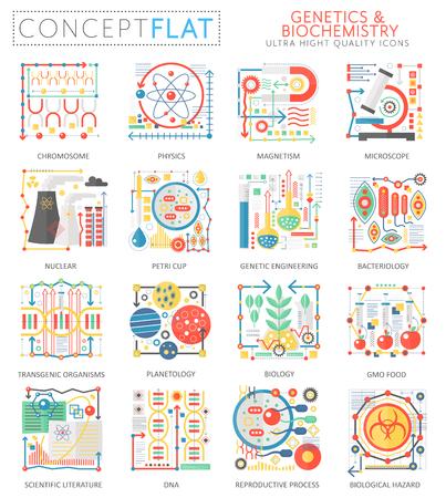 Infographics mini concept Genetics biochemistry icons for web. Premium quality color conceptual flat design web graphics icons elements. Genetics biochemistry technology concepts. Stock Photo