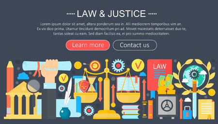 Law and justice design concept with justice icons infographics template design, web header elements, poster banner. Crime Vector illustration.