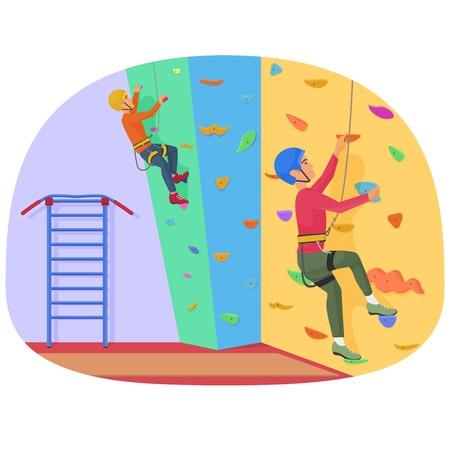 Zwei Menschen klettern auf einer Felsen-Kletterwand Vektor-Illustration.