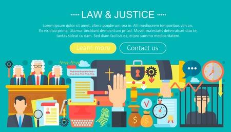 Law and justice design concept with prisoner, bible and court of law tribunal infographics template design, web header elements, poster banner. Crime Vector illustration.
