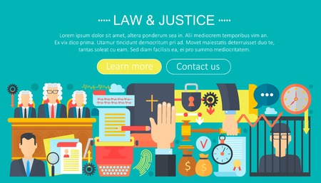 Law and justice design concept with prisoner, bible and court of law tribunal infographics template design, web header elements, poster banner. Crime Vector illustration.
