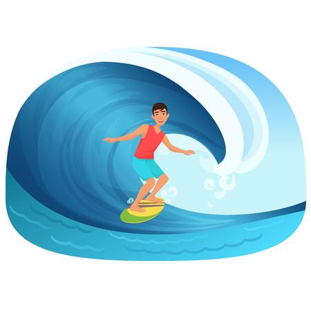 Joven montando una tabla de surf en el vector de onda illustartion.