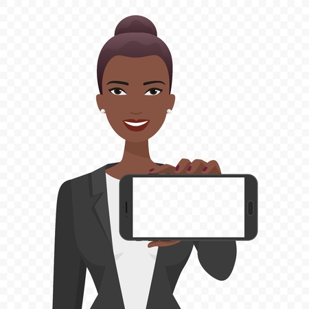 Young African businesswoman showing the empty smartphone screen vector illustration. Phone alpha transperant background. Banco de Imagens - 74212902