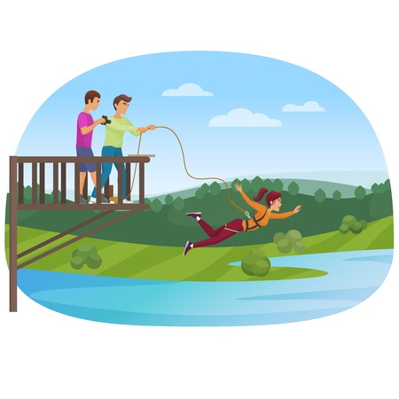 Woman doing bungee jumping with the friends vector illustration.