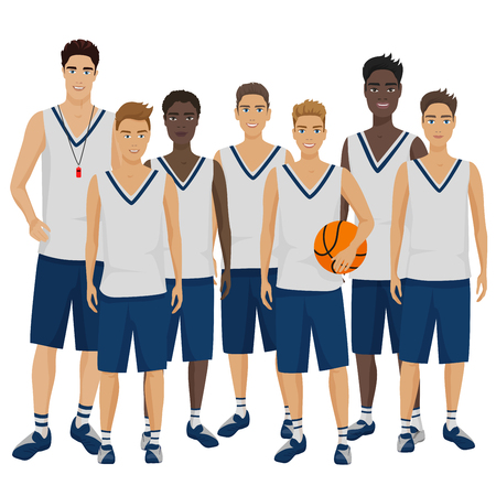 Vector illustration of the young basketball players team with coach trainer wearing the uniform. Illustration