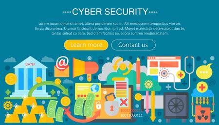 Online communication security, computer protection, cuber secutity infographics template design, web header elements, poster banner, Vector illustration. Illustration