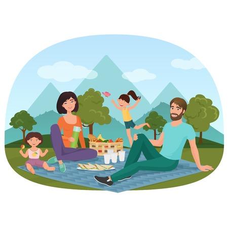 Ouders en kinderen die een picknick hebben buiten dichtbij de bergen vectorillustratie.