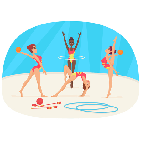 aerobic training: Young woman doing the different types of gymnastics vector illustration. Illustration