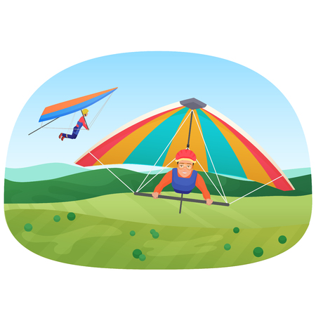 Vector illustration of the people flying on the paragliders. Active flying sport. Illustration