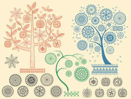 The tree patterns with the different elements vector illustration. Aztecs Mayan ancient civilizations ornaments.