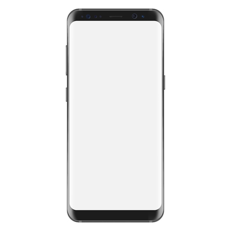 New version of modern smartphone with blank white screen. Vector eps 10