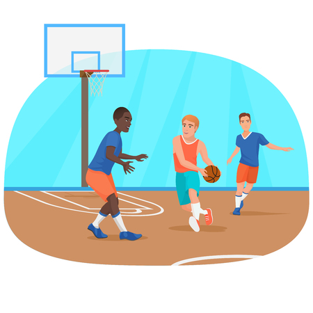 Vector illustration of the people playing the basketball on the playground