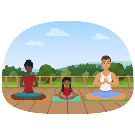 Vector illustration of the multi-ethnic family sitting on the mats and meditating. Family yoga. Illustration