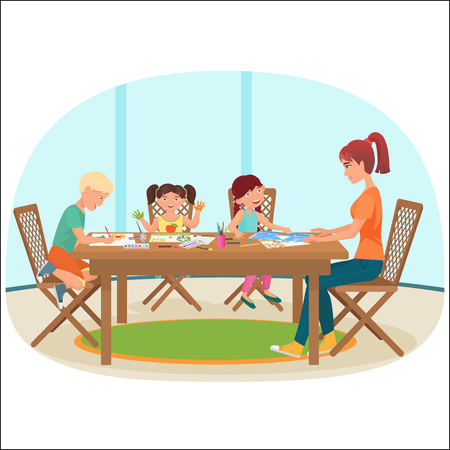 A woman sitting at the table in livingroom with drawing children vector illustration.