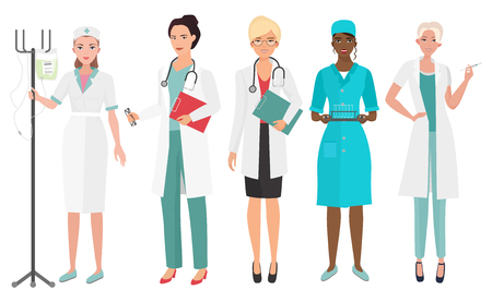 trainee: Set of female doctors in different poses. Woman doctor nurse. Vector illustration.