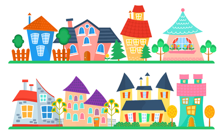 necessity: Cute cartoon houses collection. Funny colorful kid vector house set. Kids street. Illustration