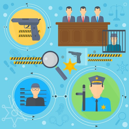 juridical: Law and justice design concept with prisoner, policeman and court of law tribunal infographics template icons in circles design, web elements, poster banner, Vector illustration.