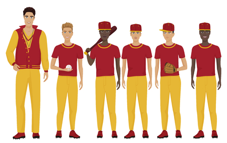 Vector illustration of the young baseball players team with coach trainer wearing the uniform.