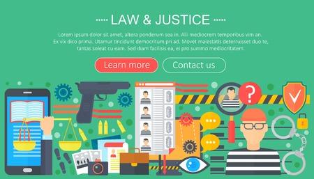 Law and justice design concept with prisoner and gun infographics template design, web header elements, poster banner. Crime Vector illustration.