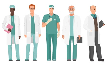 Male Doctor. African American and Caucasian doctor set. Vector illustration.
