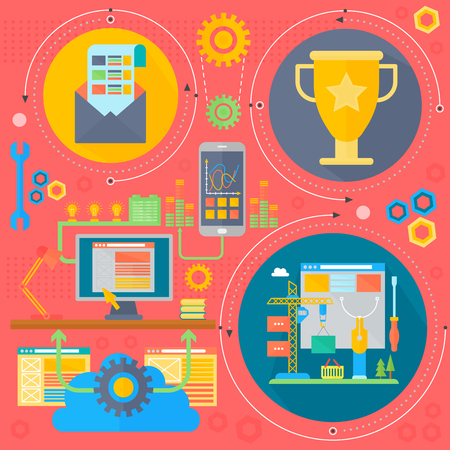 icons site search: SEO and development concept design infographics template icons in circles design, seo optimization web elements, poster banner vector illustration. Illustration