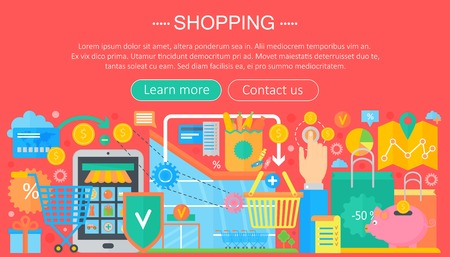 Shopping Online and E-Commerce Shopping concept. Online e commerce infographics template design, web header shopping icons elements. Vector illustration.