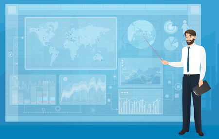 The Man person showing a part of a presentation on the blue background vector illustration. Modern VR interface graph elements.