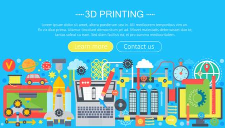 3d printer technology flat concept set. 3d modeling, printing and scanning web header. Illustration