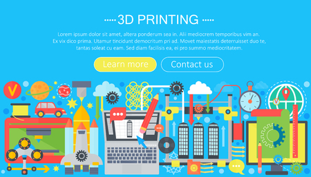 3d printer technology flat concept set. 3d modeling, printing and scanning web header. Illustration