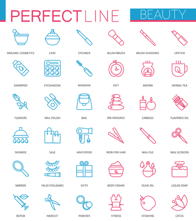 Spa Beauty and cosmetic color thin line web icons set.
