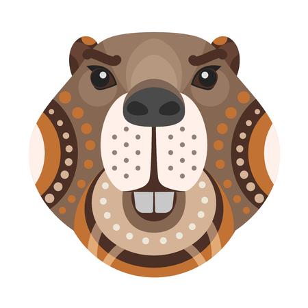 Beaver Head Logo. Vector decorative Emblem.