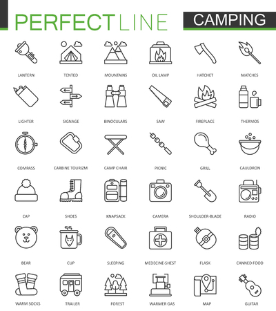 mountaineering: Summer outdoor camping thin line web icons set.