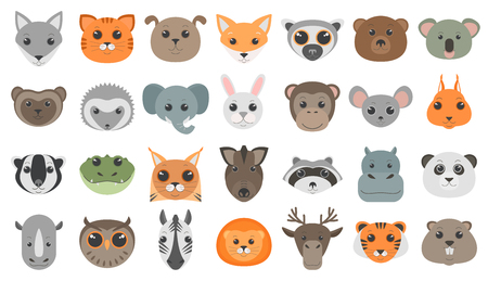 Cute cartoon animals heads set. Illustration
