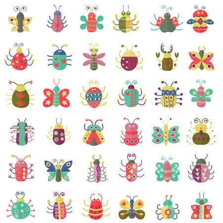 Farbe flache Insekten Symbole gesetzt. Einfache flache Butterfly, Bugs Sammlung. Vektorgrafik