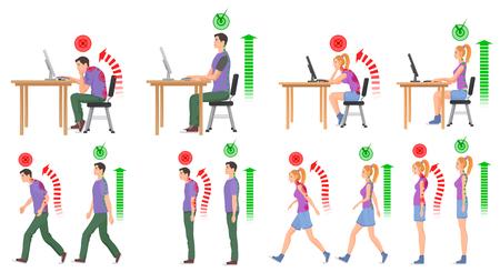 Homme et femme dans les positions correctes et mauvaises pour la colonne vertébrale. Illustration vectorielle. Banque d'images - 76253158