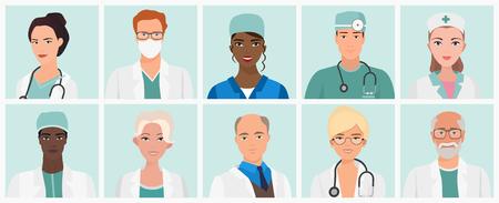 Doctors and nurses avatars set. Medical staff icons. Vector illustration Stock Illustratie