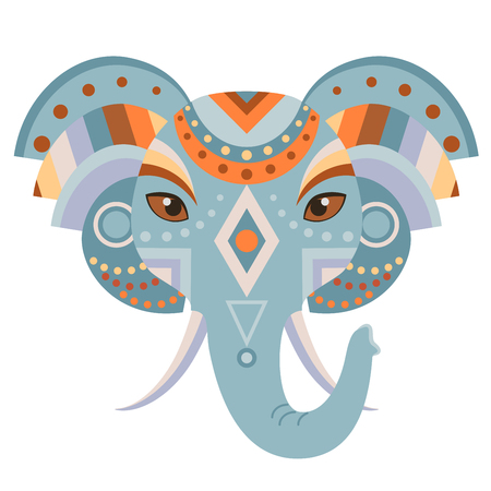 Elephant Head Logo. Vector decorative Emblem.