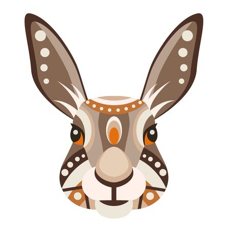 black and white: Hare Head Logo. Rabbit Vector decorative Emblem. Illustration