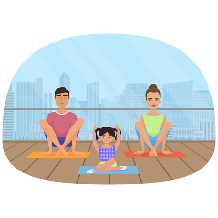 Young white people family meditating in fitness room on the city background.