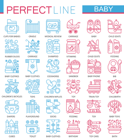 Baby care toys, kid feeding concept symbols. Perfect color thin line icons. Illustration