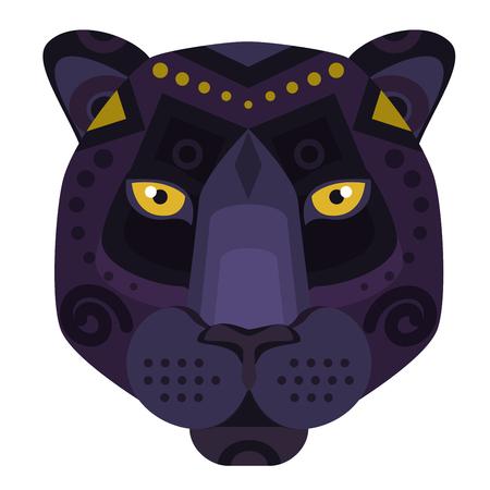 Black Panther puma Head Logo. Vector decorative Emblem.